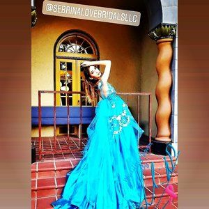 Tamila Custom Order Turquoise & White Wedding Gown